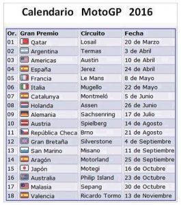 CALENDARIO GP 2016